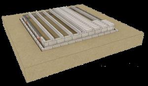 Blocks placed between the beams