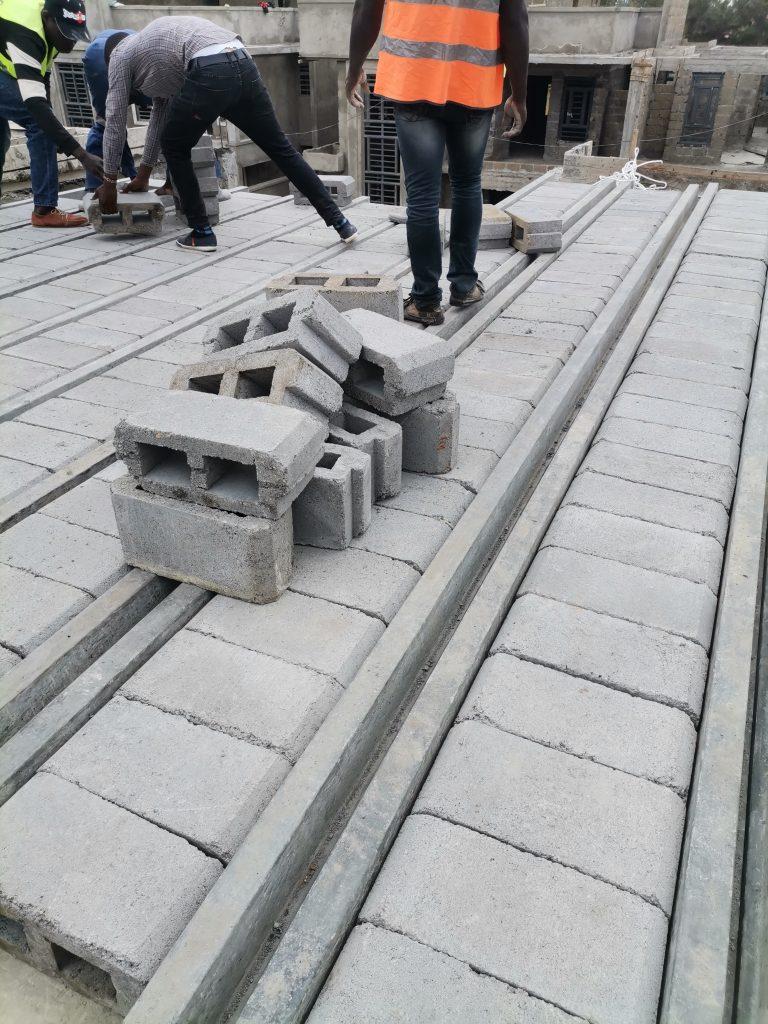 Precast beam and block installation